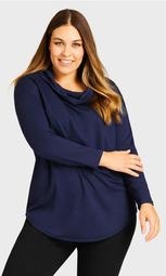 Polly Cowl Top - navy
