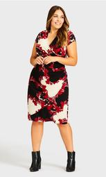 Donna Print Dress - red scroll