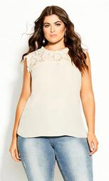 Lace Angel Top - buff