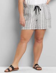 Linen Pull-On Midi Short - Striped