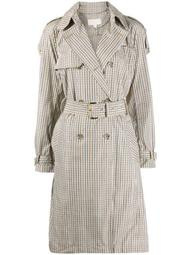 check-pattern trench coat