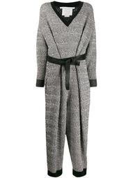 patterned-knit belted jumpsuit
