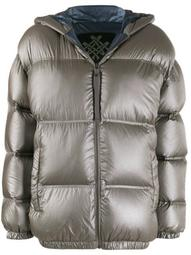 hooded quilted-down jacket