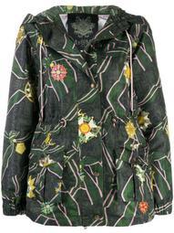 patterned rain jacket