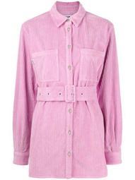 belted-waist corduroy shirt jacket