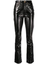 snakeskin effect trousers