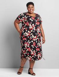 Short-Sleeve Ruched Side Midi Dress