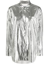 metallic scale net shirt
