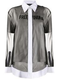 slogan-print layered shirt