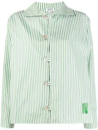 embroidered logo striped shirt