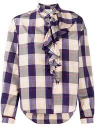check-print ruffled blouse
