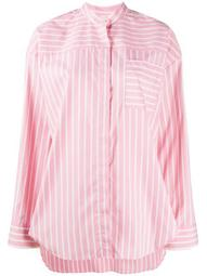 stripe-print collarless shirt