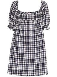 puckered gingham babydoll dress