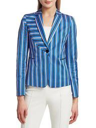 Square Stripe Stretch-Cotton Blazer