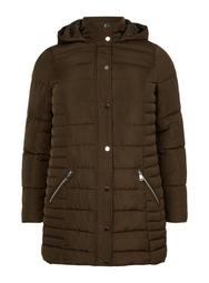**DP Curve Brown Long Padded Hooded Coat