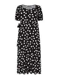 **DP Curve Black Spot Print Wrap Dress