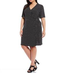 MICHAEL Michael Kors Plus Size Logo Dot Print Lux Matte Jersey Side Tie Ring Detail Flutter Sleeve Faux Wrap Dress