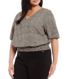 MICHAEL Michael Kors Plus Size Leopard Print Pebble Crepe V-Neck Flutter Sleeve Smocked Hem Top