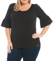 MICHAEL Michael Kors Plus Size Solid Knit Jersey Gathered Peasant Top