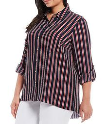 MICHAEL Michael Kors Plus Size Menswear Stripe Print Textured Crepe Roll-Tab Sleeve Button Front Oversized Top