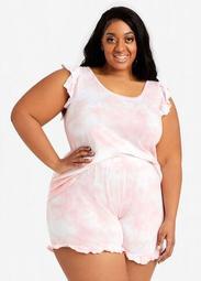 PJ Couture Pink Tie Dye Shorts Set