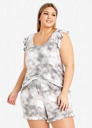 PJ Couture Grey Tie Dye Shorts Set