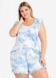 PJ Couture Blue Tie Dye Shorts Set