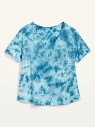 Loose Tie-Dyed Plus-Size Easy V-Neck Tee