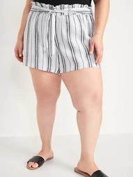 High-Waisted Tie-Belt Linen-Blend Plus-Size Shorts -- 4.5-inch inseam