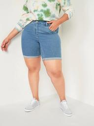 Mid-Rise Secret-Slim Plus-Size Bermuda Jean Shorts -- 9-inch inseam