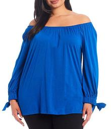 MICHAEL Michael Kors Plus Size Solid Knit Jersey Off-The-Shoulder Tie-Sleeve Top
