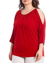 MICHAEL Michael Kors Plus Size Chain Neck Cold Shoulder Eco Crepe Jersey Top