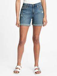 "5"" Mid Rise Distressed Denim Shorts"