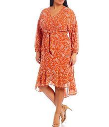 Plus Size Long Sleeve Wild Flowers High Low Midi Dress
