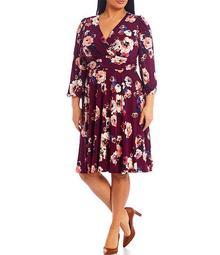 Plus Size Long Sleeve Floral V-Neck Midi Dress