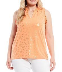 MICHAEL Michael Kors Plus Size Tossed Paisley Foil Print Lux Matte Jersey Ruffle Trim Sleeveless Top