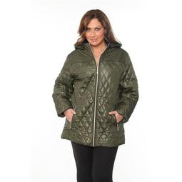 White Mark PS889-06-3XL Womens Plus-Size Puffer Coat - Olive, 3X