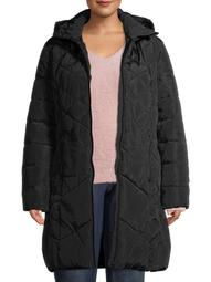 Big Chill Women's Plus Size Hooded Maxi Length Quilt Puffer