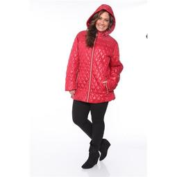 White Mark PS889-05-3XL Women Plus Women Puffer Coat, Red - 3XL