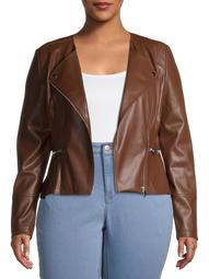 Mark Alan Women's Plus Size Vegan Leather Peplum Jacket