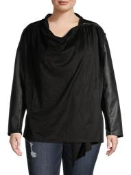 Alivia Ford Women's Plus Size Drape Front Vegan Leather Jacket with Zipper Detail