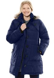 Woman Within Women's Plus Size Heathered Down Puffer Coat Coat