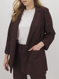 Simply Be Women's Plus Size Linen Blazer