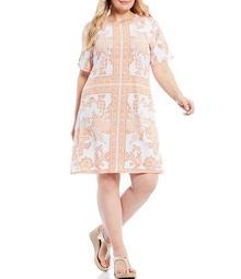 MICHAEL Michael Kors Plus Size Mirrored Scarf Print Lux Matte Jersey Crew Neck Short Sleeve Dress