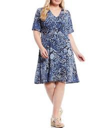 MICHAEL Michael Kors Plus Size Arabesque Paisley Print Lux Matte Jersey Empire Waist V-Neck Dress