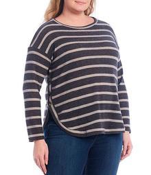 Plus Size Stripe Side Button Detail Hem Drop Shoulder Long Sleeve Top