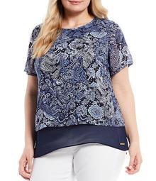 MICHAEL Michael Kors Plus Size Arabesque Paisley Print Layered Georgette Short Sleeve Hi-Low Top