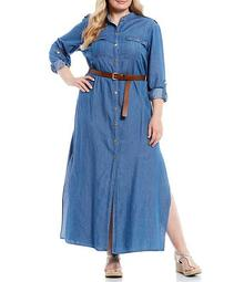 MICHAEL Michael Kors Plus Size Cotton Lyocell Roll-Tab Sleeve Snap-Front Belted Shirtdress