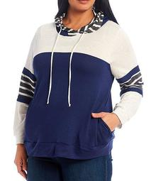 Plus Size Colorblock Stripe Hoodie