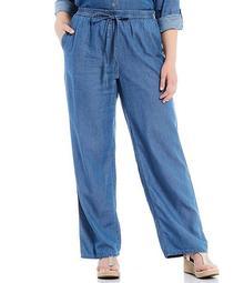 MICHAEL Michael Kors Plus Size Cotton Lyocell Pull-On Wide Leg Drawstring Pants
